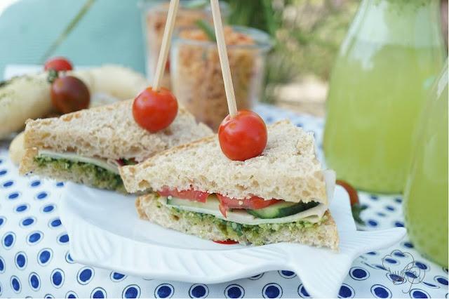Sandwiches mit Pesto, Tomaten, Hähnchenbrust und Gurke