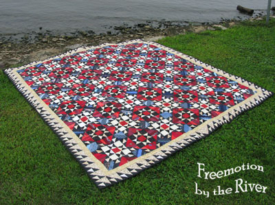 Orca Bay quilt on the grass