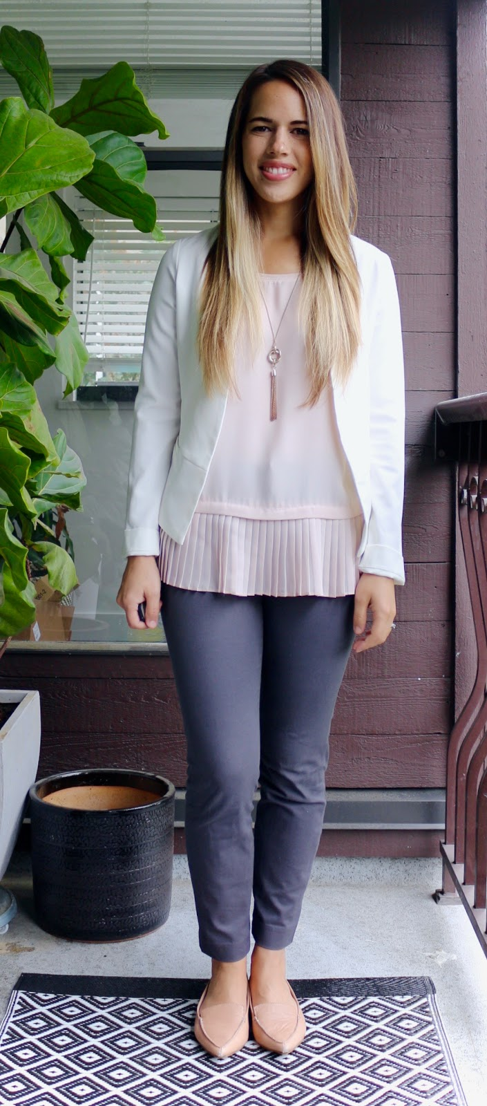 Jules in Flats - Pleated Peplum Top with White Blazer