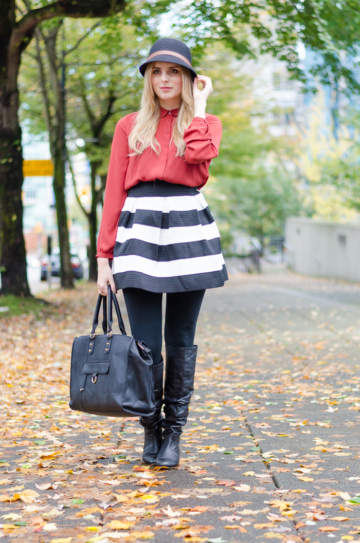 How to layer a skirt for fall, winter outfits