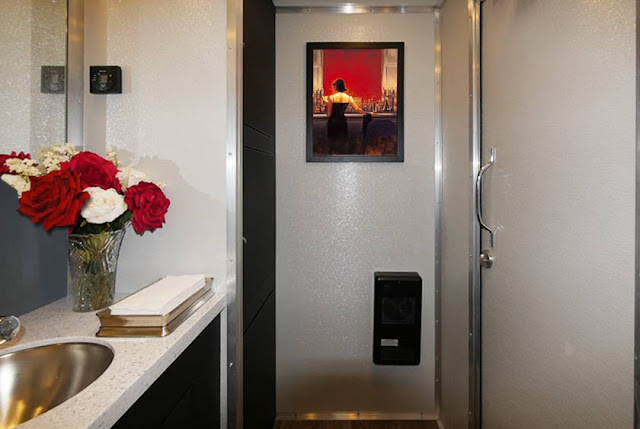 Restroom Trailers New York - The SOHO inside with chic Artwork