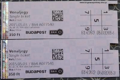 BKK Budapest, bilet jednorazowy