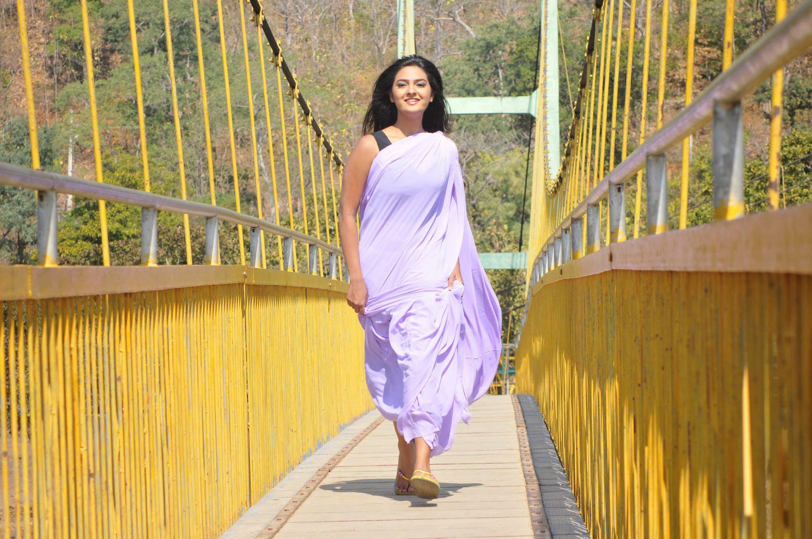Neha Deshpande Photos in Violet Saree From The Bells Movie, Neha Deshpande Sare HD Wallpapers from The Bells Movie