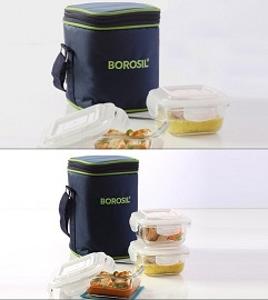 BorosilKlip-N-Store Lunch Boxes With Bag Set of 3 for Rs.629 Only @ Nearbuy