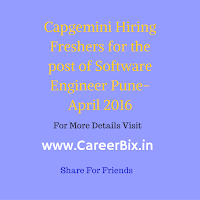 Capgemini Hiring Freshers for the post of Software Engineer Pune-April 2016