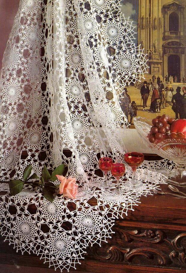 crochet lace tablecloth - Circle crochet motif - Lace