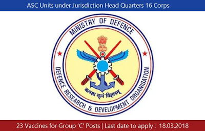 ASC Units under Jurisdiction Head Quarters 16 Corps