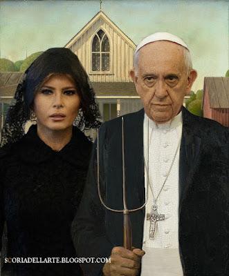 Papa Francesco e Melania Trump- American Gothic-Grant Wood