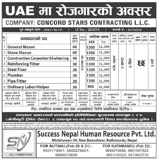 Jobs in UAE for Nepali, Salary Rs 36,000
