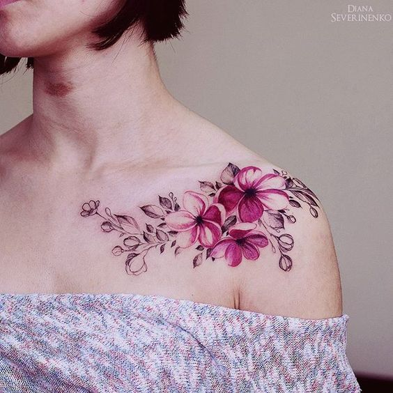 Beautiful Pink Flower Watercolor Tattoos For Women
