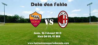 Data dan Fakta Liga Fantasia Serie A Gio 26 AS Roma vs AC Milan Fantasi Manager Indonesia