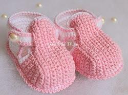 Sapatinhos de Crochê Para Meninas cor-de-rosa
