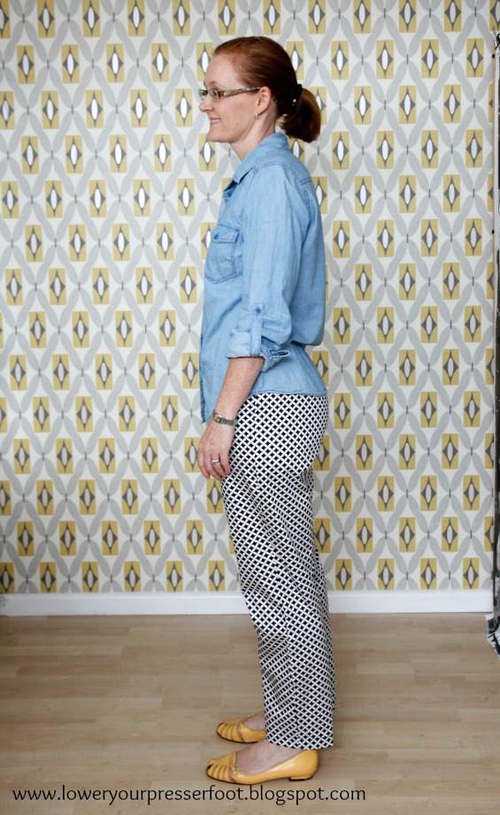 New Look 6736 grey wool and black and white print pants www.loweryourpresserfoot.blogspot.com