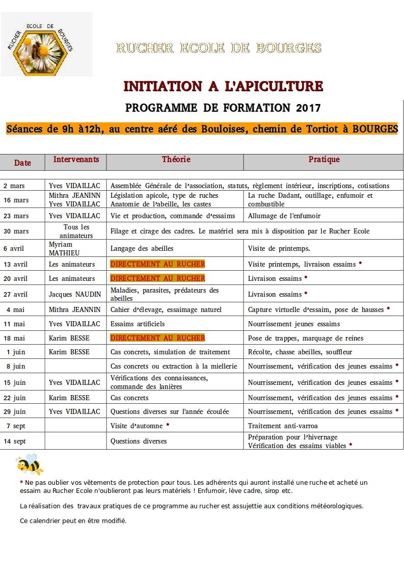 Rucher ecole de bourges programme rucher ecole 2017 - Cours de cuisine bourges ...