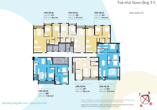 Mặt bằng tầng 03 - 05 tòa NOVO dự án Kosmo Tây Hồ