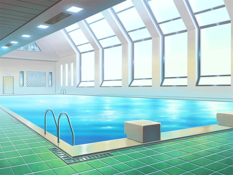 anime landscape sport swimming pool anime background