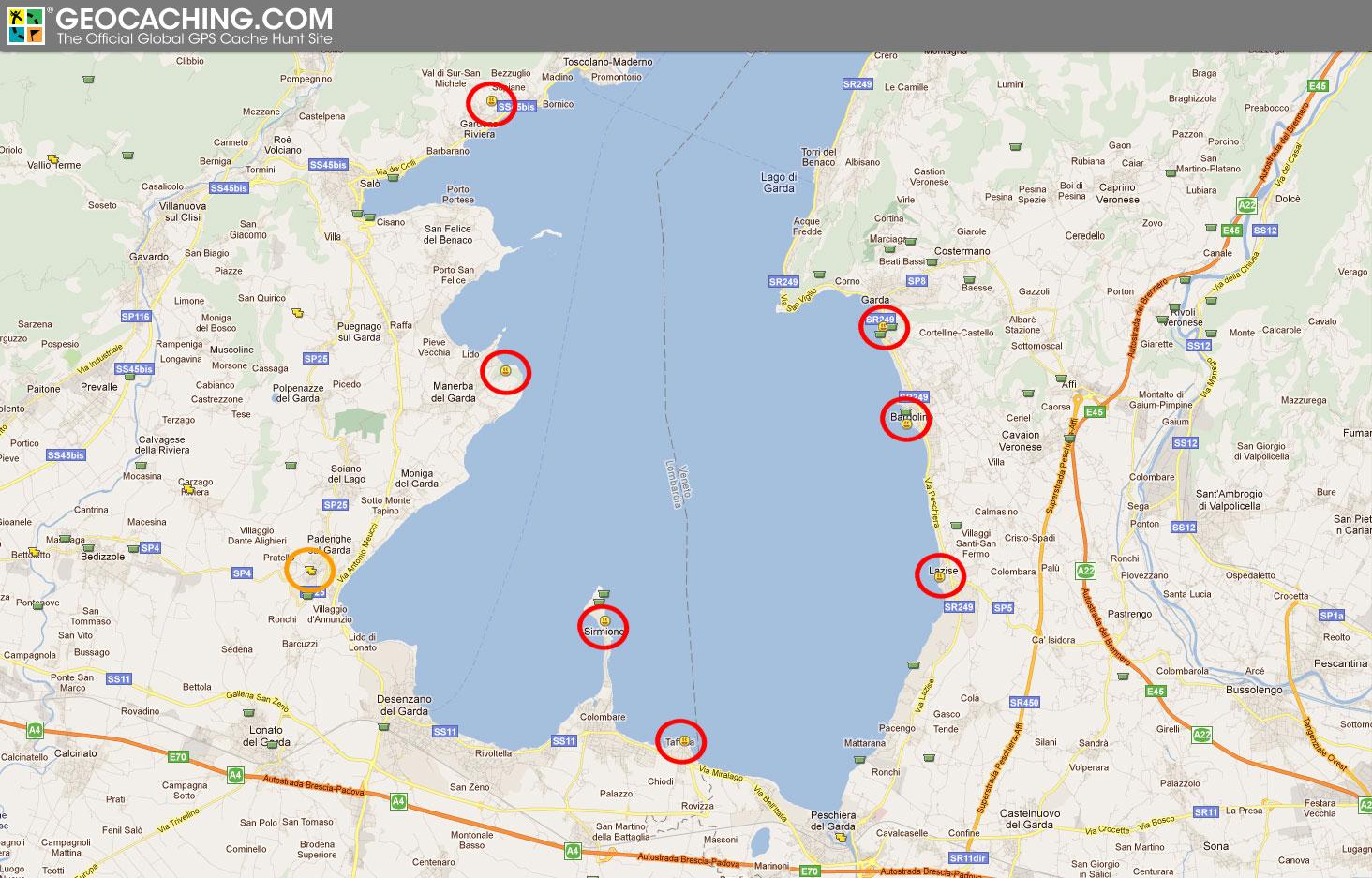 gardasee strand karte geocaching: Cachen rund um den Gardasee