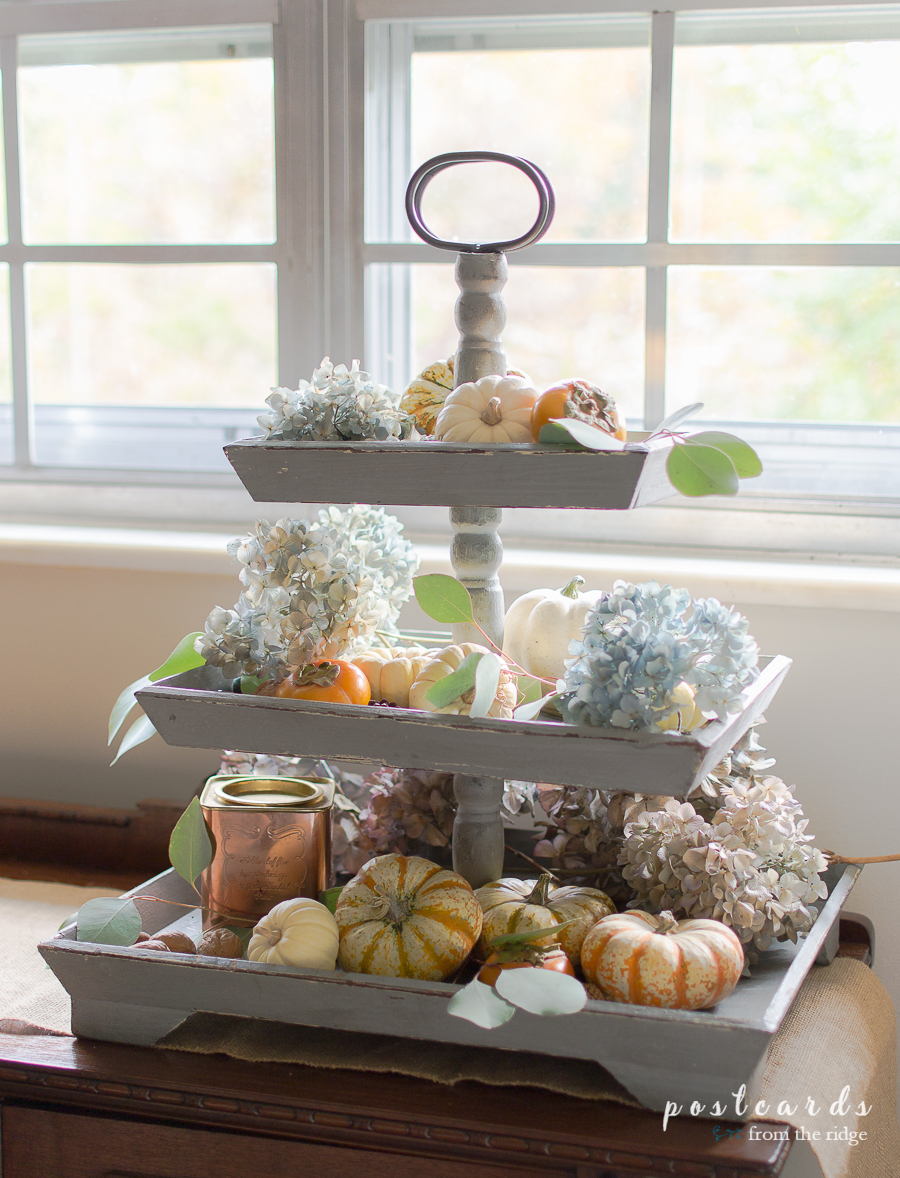 tiered tray styled with fall accents