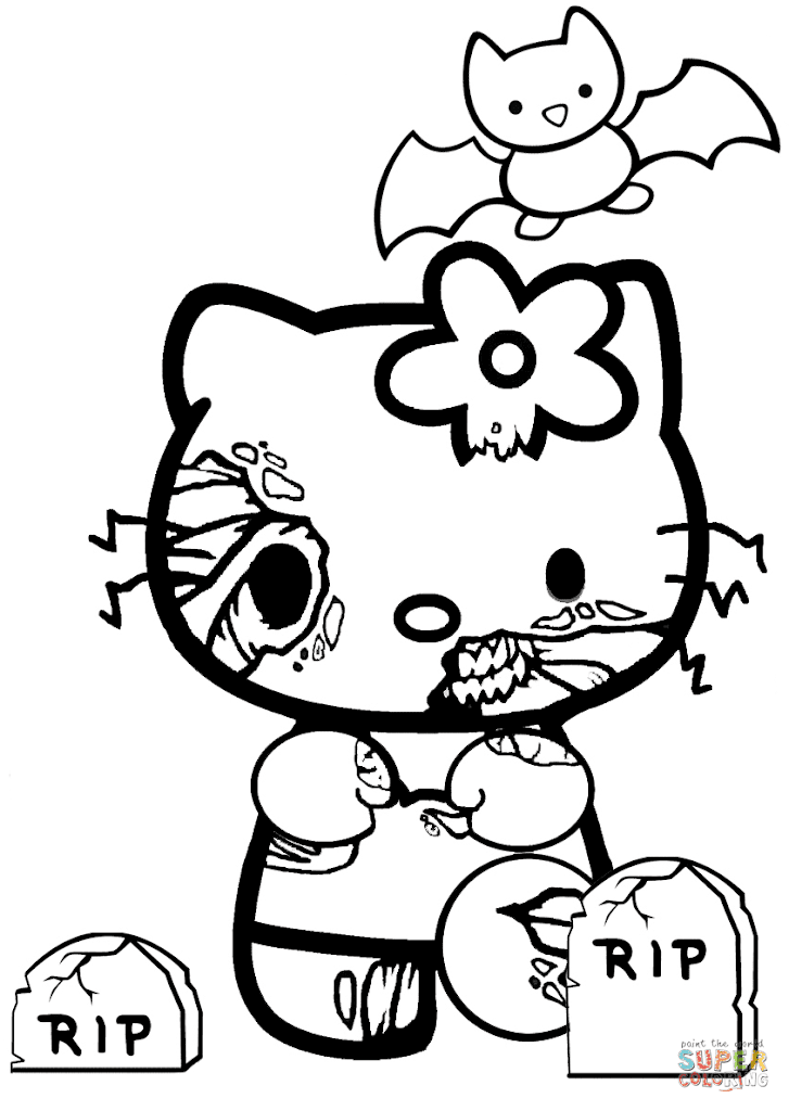 big hello kitty coloring pages - halloween hello kitty free coloring pages
