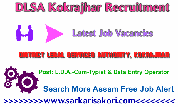 DLSA Kokrajhar Recruitment 2017 L.D.A.-Cum-Typist & Data Entry Operator