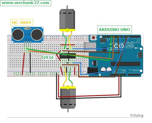 hc-sr04 और dc motor का circuit बनाएं
