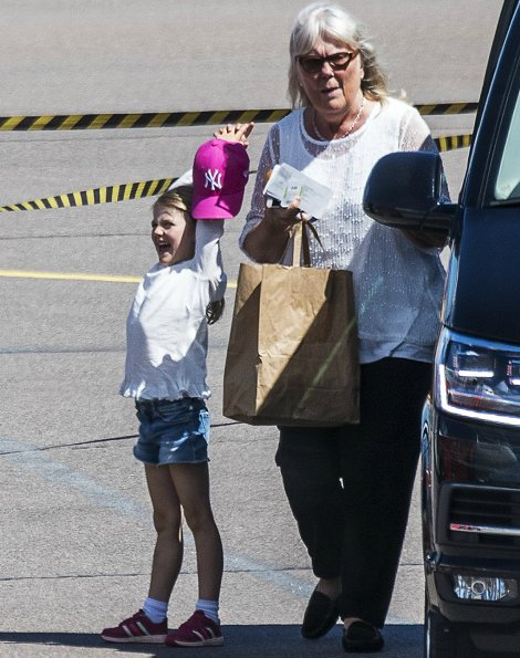 Crown Princess Victoria, Princess Estelle, Prince Oscar at Kalmar Öland Airport. Crown Princess Victoria's 40th birthday celebrations