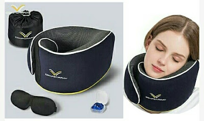 Travel Kit - ComfoArray Neck Pillow, Eye Mask, Earbuds and Organizer