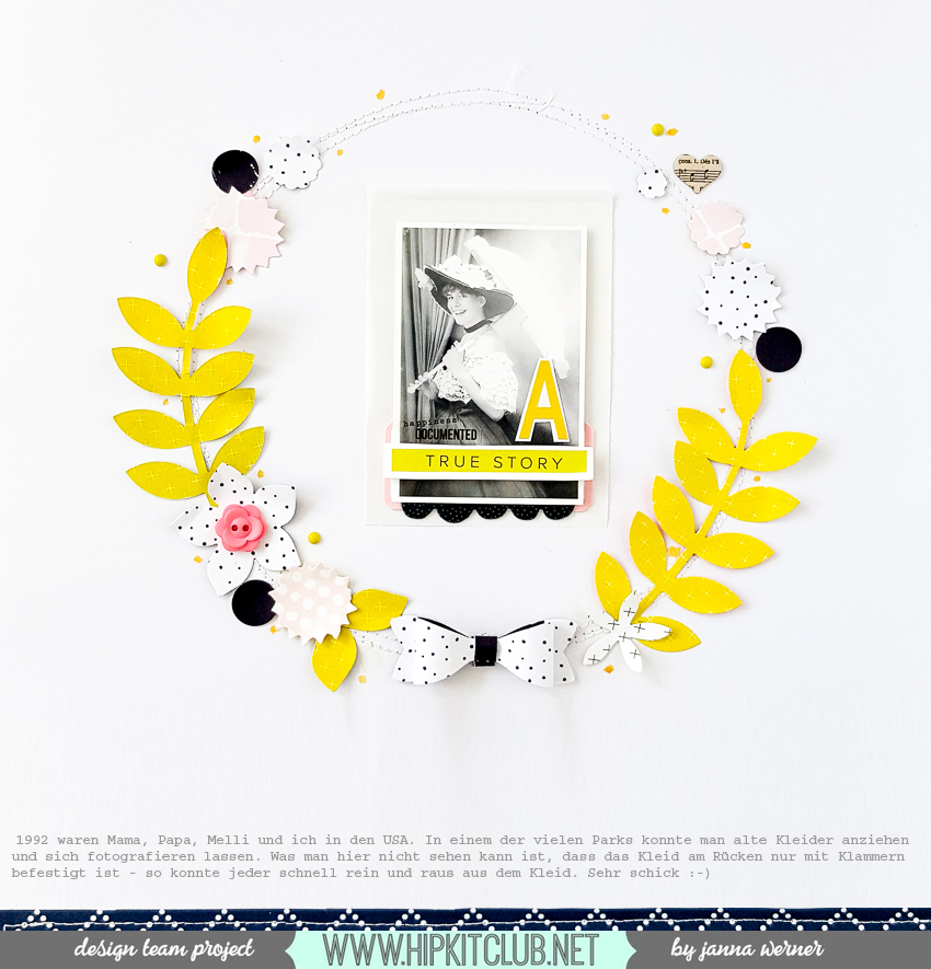 Paperflower Wreath on Scrapbooking Page | Janna Werner | Instagram: jannawerner