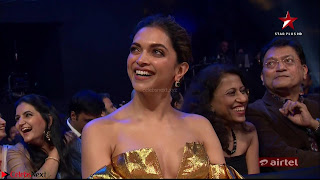 Deepika Padukone in Glittering Deep neck Golden Gown at  Lux Golden Rose Awards 2018  Exclusive 003.jpeg