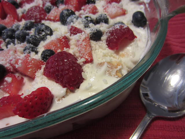 Easy White Chocolate Berry Dessert in a dish ready to serve
