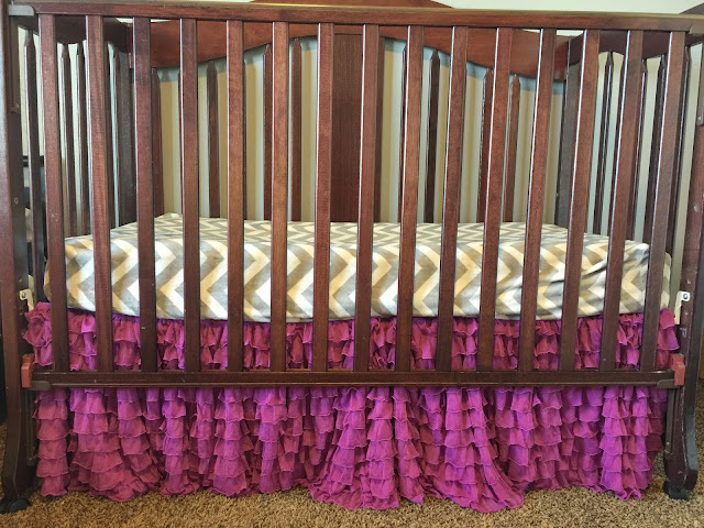 Ruffle Crib Skirt for Baby Girl in Purple Orchid