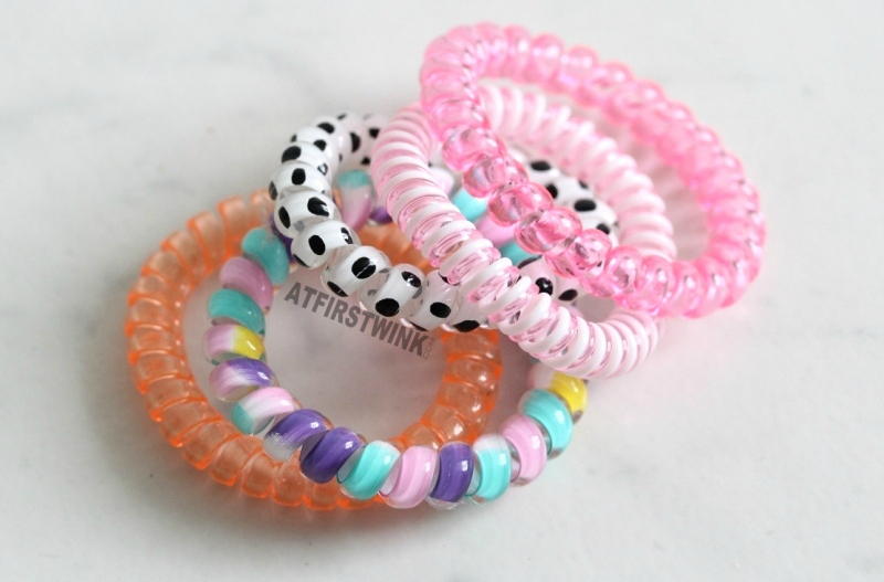 H&M find colorful phone cord hair bands polkadot colorful pink orange