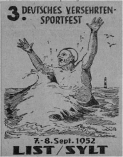 Poster for the 3. Deutsches Versehrtensportfest [3rd German tournament for permanently wounded veterans] on the German island of Sylt. This ad depicts an athletic swimmer joyously waving his arms. The impaired part of his body, however, remains unseen and below the waves of the North Sea.