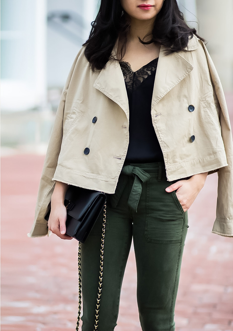 Cropped Trench + Tie Waist Pant