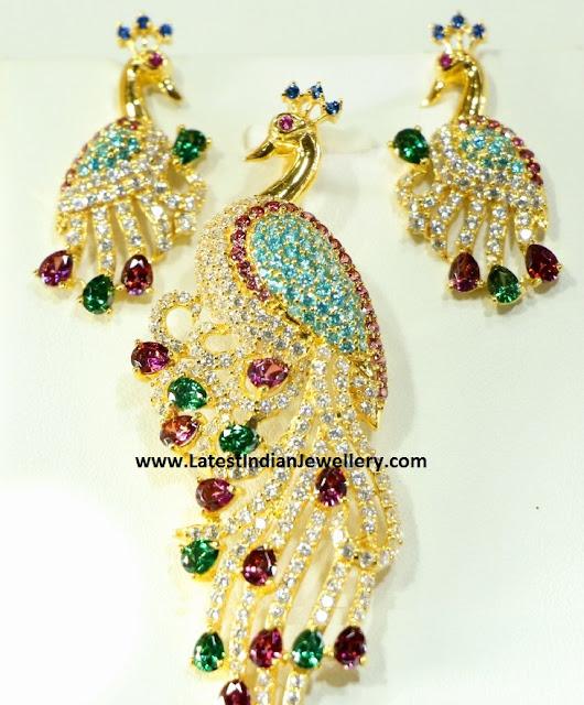 peacock pendant set gold
