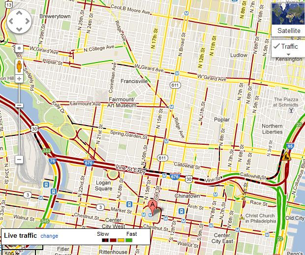 Phila Traffic Map.Reluctant Chauffeur Philadelphia Traffic And Real Time Traffic Maps