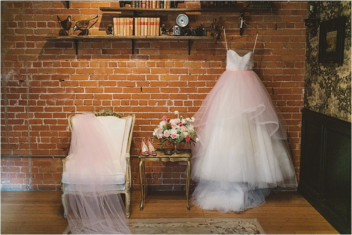 Hanging bridal gown