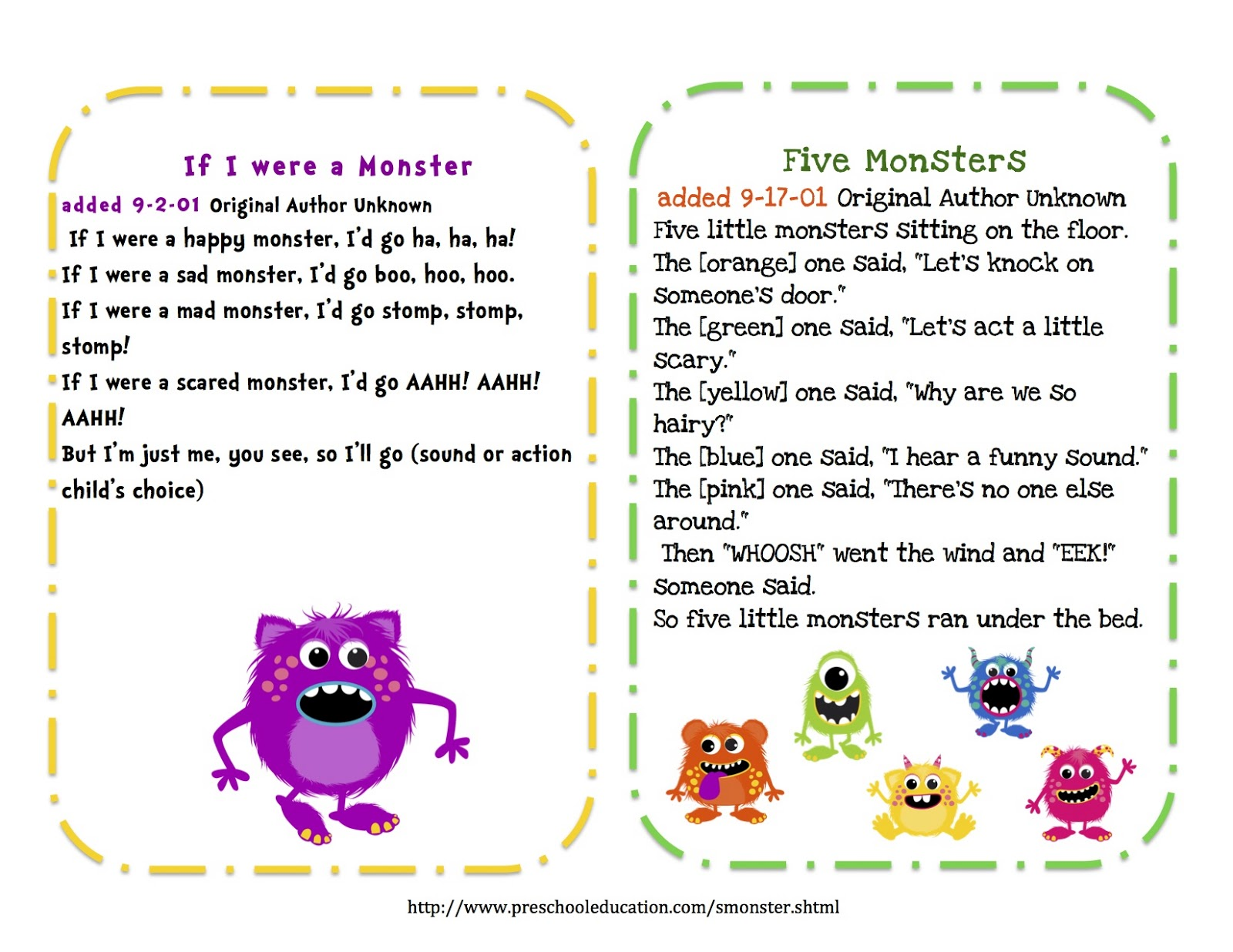 Preschool Printables Free Little Monsters Songs Amp Puppet