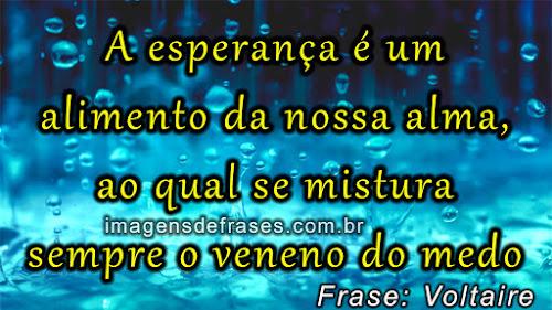 Frases de Voltaire: A esperança é um alimento da nossa alma, ao qual se mistura sempre o veneno do medo