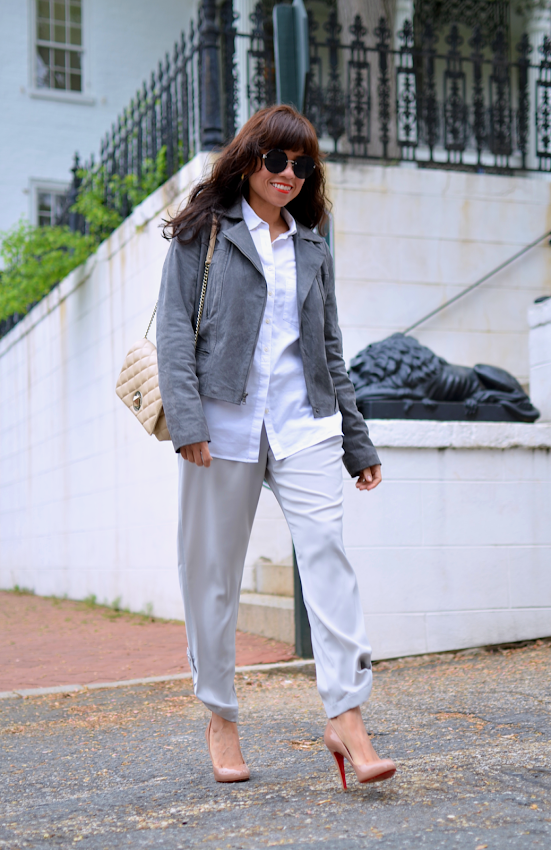 Street style look with neutral colors