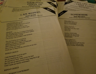 karaoke lyric sheets