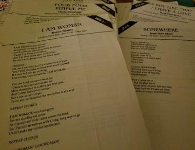 karaoke lyric sheets