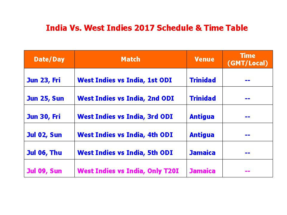 Learn New Things India Vs West Indies 2017 Schedule -7693