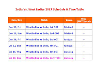 India Vs. West Indies 2017 Schedule & Time Table,India tour of West Indies 2017,West indies vs. india 2017 cricket tour,india vs. west indies 2017 full fixture,india cricket schedule 2017,cricket calendar 2017,t20 cricket,one day odi cricket,icc cricket,india tour of west indies june 2017,west indies vs india june 2017 schedule,indian cricket team,india vs. west indies cricket match,match detail,indian timing,venue,local time,ist time,fixture,cricket schedule