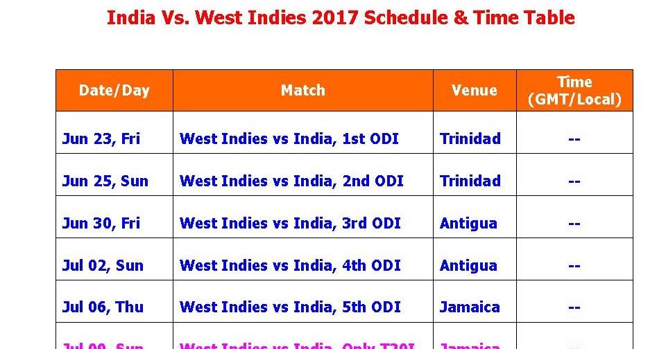 India Tour Of West Indies  Schedule