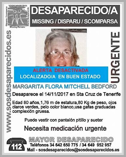 encontrada  en buen estado la mujer de 80 años desaparecida en Santa Cruz de Tenerife y que necesitaba urgente medicación