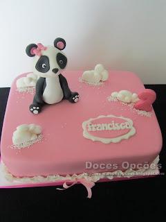 Bolo com uma Panda para o aniversário da Francisca