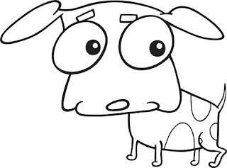 Clipart Image of a Cartoon Black and White Dog