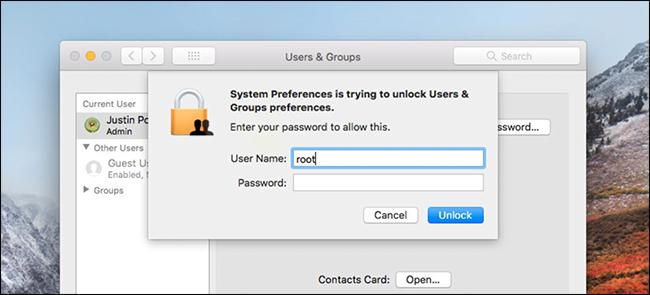 accesso alla root macos senza password