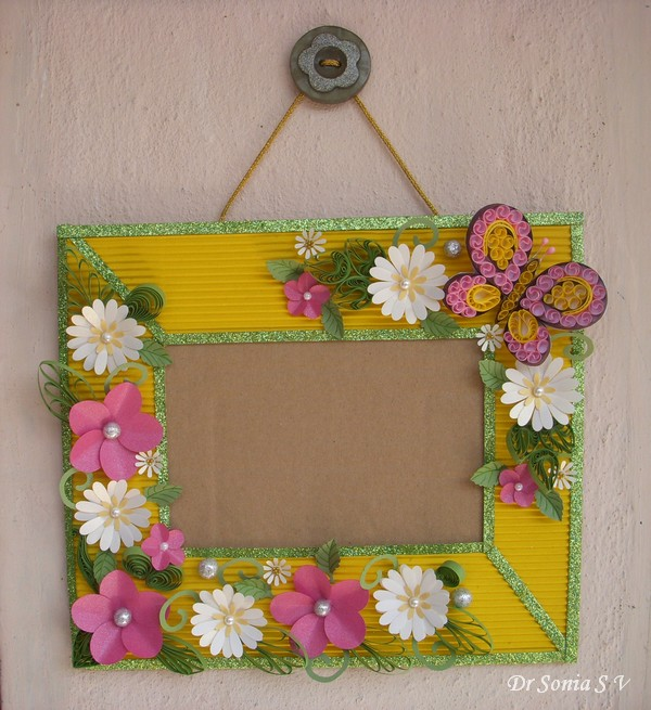 Cards Crafts Kids Projects Paper Flowers On Handmade Photoframe